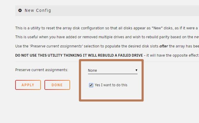 《UNRAID  NAS 当某个硬盘坏掉,或者说是拔掉某个硬盘,需要重建序列时的方法》